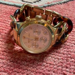 Michael Kors Gold and Tortoise Link Watch